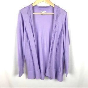 Croft & Barrow lavender tunic cardigan sweater